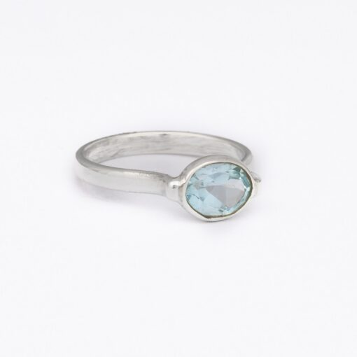 """""""Drop of Delight"""" Blue Topaz ring, ethical jewellery handcrafted in sterling silver by Caraliza Designs"""