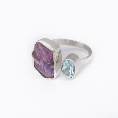 Opposites Attract Amethyst and Blue Topaz ring, ethical jewellery handcrafted in sterling silver by Caraliza Designs