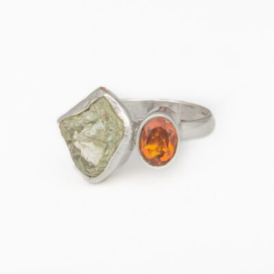 Opposites Attract Citrine and Lemon Topaz ring, ethical jewellery handcrafted in sterling silver by Caraliza Designs