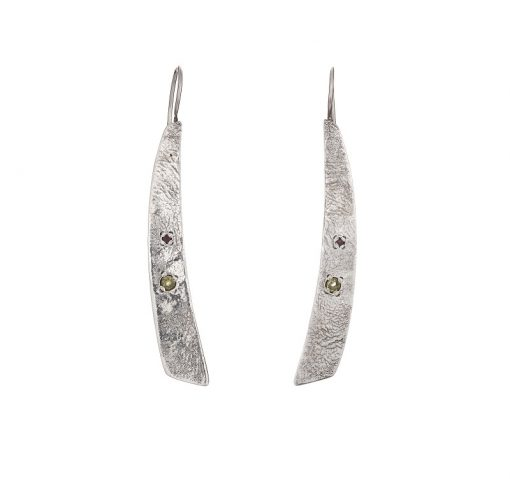 """""""Tribal Elegance"""" Peridot Garnet Textured Earrings, ethically handcrafted jewellery in sterling silver by Caraliza Designs"""