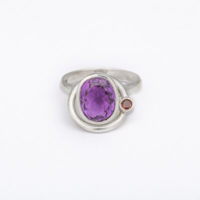 Satellite Ring with Amethyst and Garnet, ethical jewellery handcrafted in sterling silver by Caraliza Designs