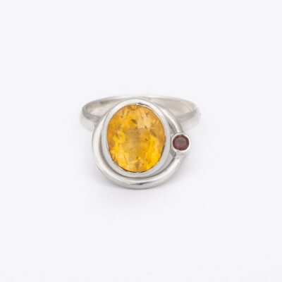 Satellite Ring with Citrine and Garnet, ethical jewellery handcrafted in sterling silver by Caraliza Designs