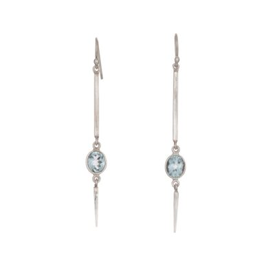 """Pointed Elegance"" large Blue Topaz Spear Earrings, ethically handcrafted jewellery in sterling silver by Caraliza Designs"
