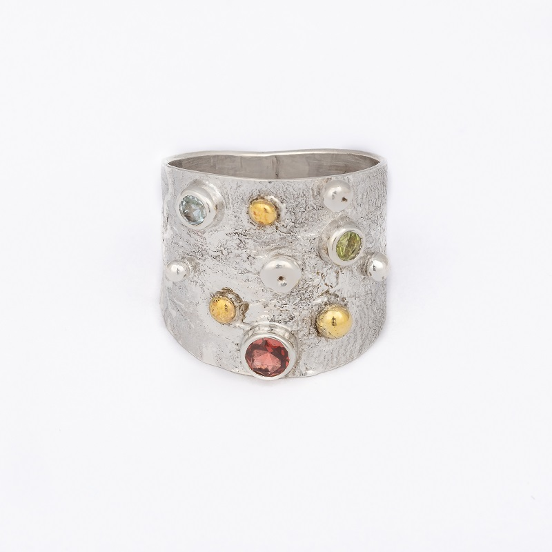 Textured Wide Band Ring, ethical jewellery handcrafted in sterling silver by Caraliza Designs