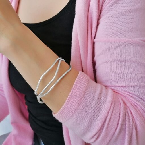Sterling silver bangle, Irish jewellery ethically handcrafted by Caraliza Designs