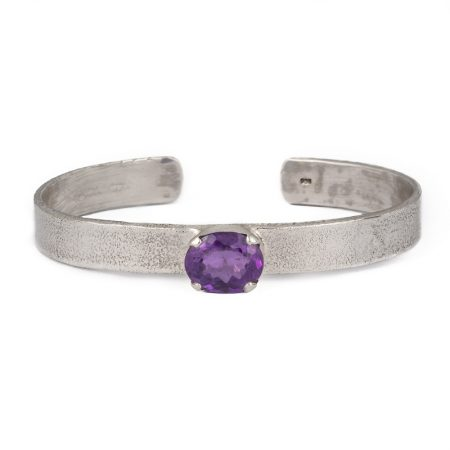 Textured Cuff Bangle Oval Amethyst handcrafted in sterling silver, ethical jewellery by Caraliza Designs