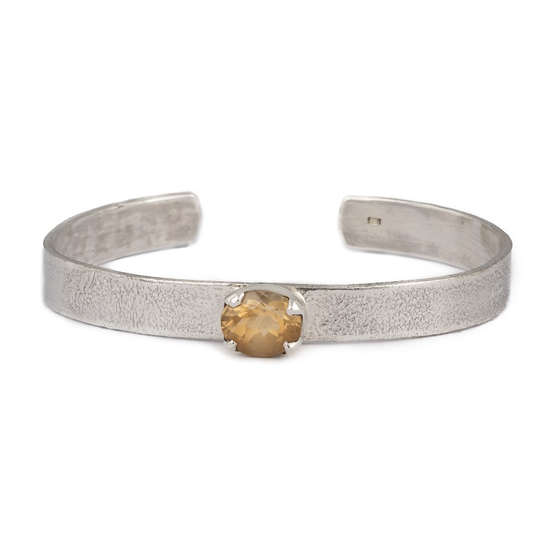 Citrine Cuff Bracelet handcrafted in textured sterling silver, ethical jewellery by Caraliza Designs