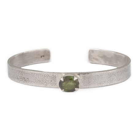 Textured Cuff Bangle with Oval Green Tourmaline gemstone handcrafted in sterling silver, ethical jewellery by Caraliza Designs
