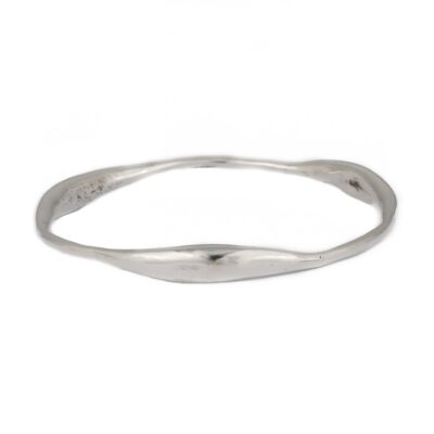 """Curvy Delight"" wide polished sterling silver bangle, ethical jewellery handcrafted by Caraliza Designs"