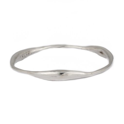 """""""Curvy Delight"""" wide polished sterling silver bangle, ethical jewellery handcrafted by Caraliza Designs"""