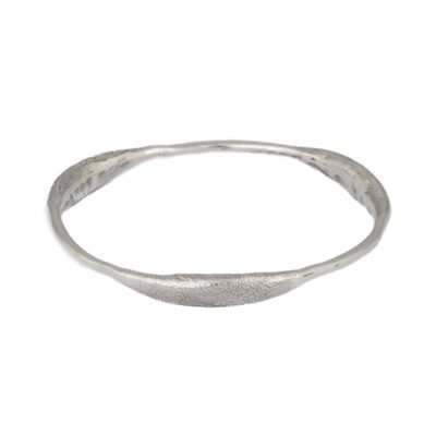 """Curvy Delight"" wide textured sterling silver bangle, ethically handcrafted jewellery by Caraliza Designs"