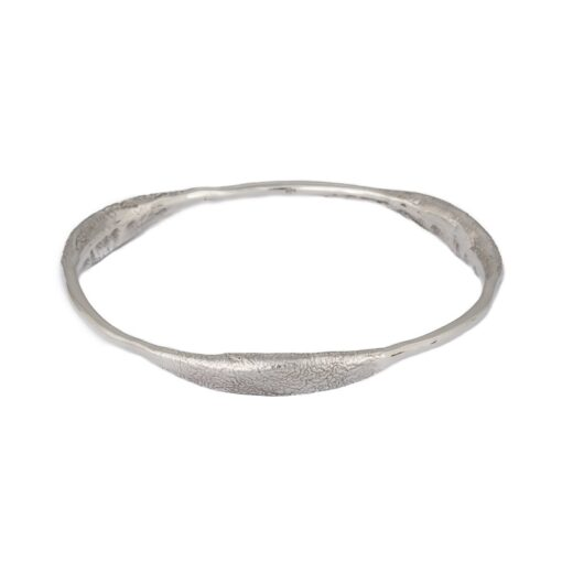 """""""Curvy Delight"""" wide textured sterling silver bangle, ethically handcrafted jewellery by Caraliza Designs"""