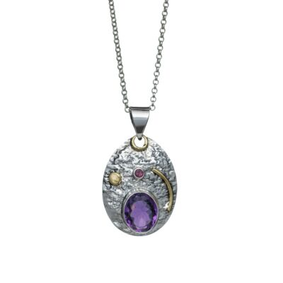 """You are my Universe"" Amethyst and brass textured sterling silver pendant, handcrafted jewellery by Caraliza Designs"