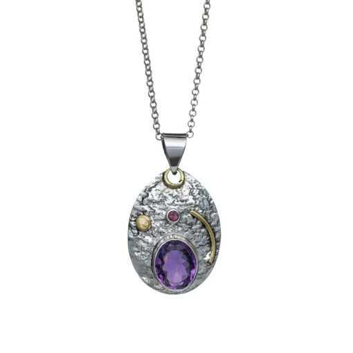 """""""You are my Universe"""" Amethyst and brass textured sterling silver pendant, handcrafted jewellery by Caraliza Designs"""