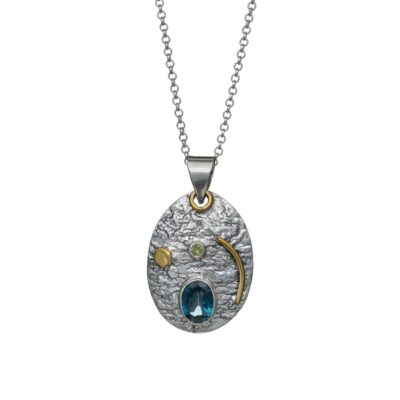 """You are my Universe"" textured sterling silver pendant with Blue Topaz, ethical handcrafted jewellery by Caraliza Designs"