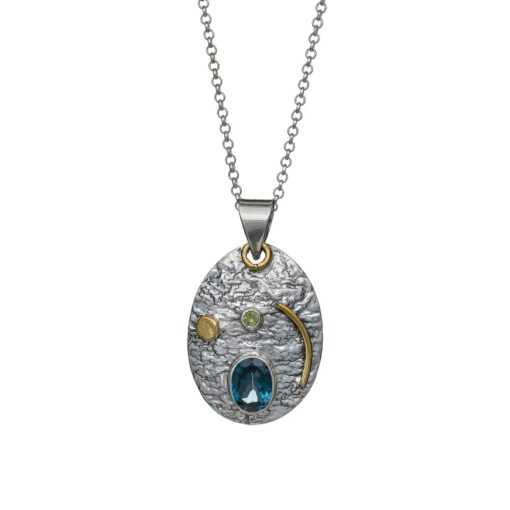 """""""You are my Universe"""" textured sterling silver pendant with Blue Topaz, ethical handcrafted jewellery by Caraliza Designs"""