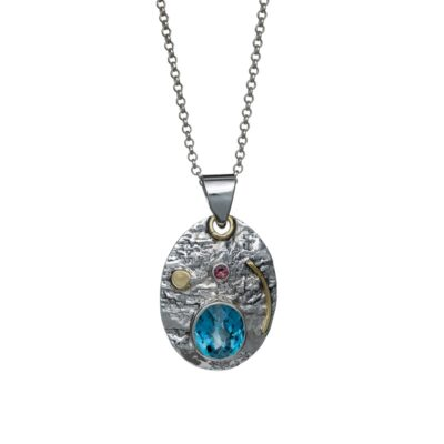 """You Are My Universe"" textured sterling silver pendant with Blue Topaz and Pink Tourmaline, ethical jewellery handcrafted by Caraliza Designs"