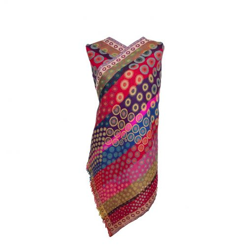 Dynamic Kandinsky Merino Wool Shawl by Caraliza Designs