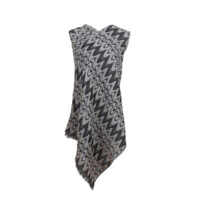 Silver Chevrons Merino Wool Shawl by Caraliza Designs