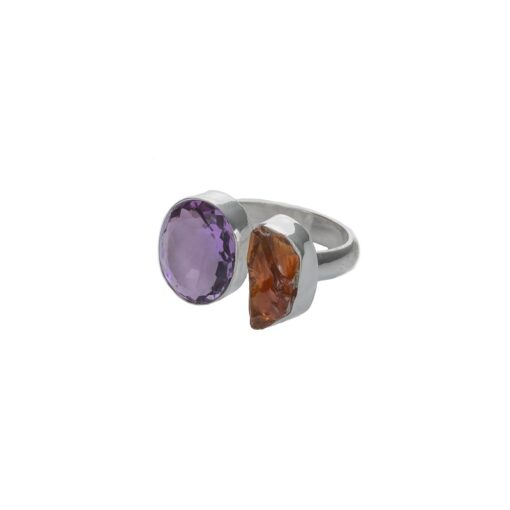"""Opposites Attract"" Amethyst Orange Citrine sterling silver ring, ethically handcrafted jewellery by Caraliza Designs"