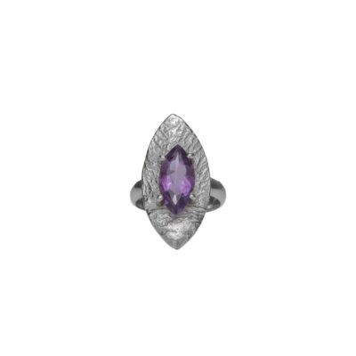 """""""Love Always"""" amethyst textured ring handcrafted in sterling silver, ethical jewellery by Caraliza Designs"""