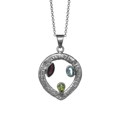 """""""Celtic Trine"""" textured sterling silver pendant, ethical jewellery handcrafted by Caraliza Designs"""