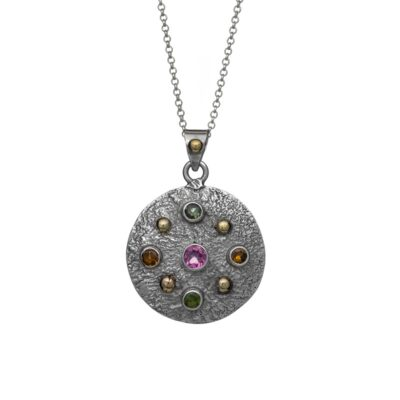 """Tourmaline Charm"" textured sterling silver pendant, handrafted jewellery by Caraliza Designs"