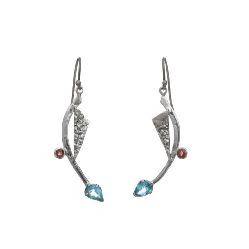Priya Earrings Blue Topaz and Pink Tourmaline handcrafted in sterling silver, ethical jewellery by Caraliza Designs