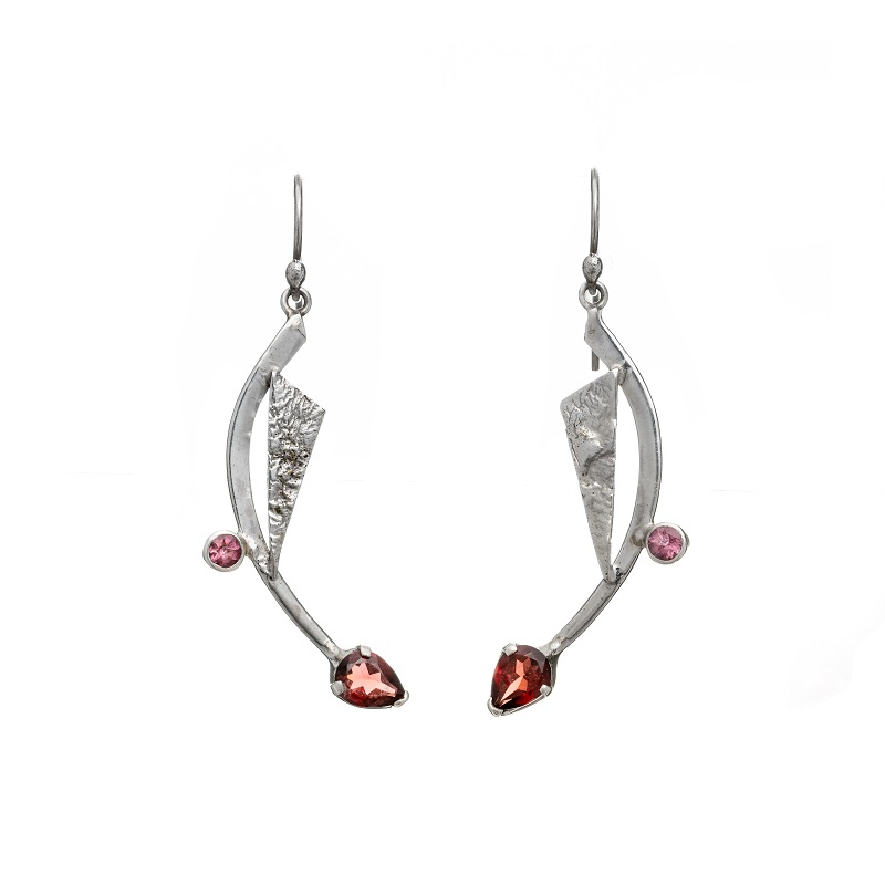 Priya Earrings Garnet and Pink Tourmaline handcrafted in sterling silver, ethical jewellery by Caraliza Designs
