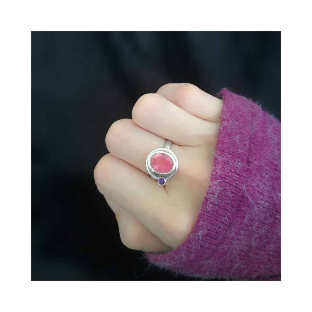 Pink Tourmaline Satellite ring handcrafted in sterling silver, ethical jewellery by Caraliza Designs