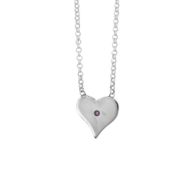Amethyst Polished Heart Pendant, Irish jewellery ethically handcrafted in sterling silver by Caraliza Designs