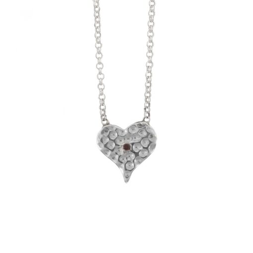 Garnet Hammered Heart Pendant, Irish jewellery ethically handcrafted in sterling silver by Caraliza Designs