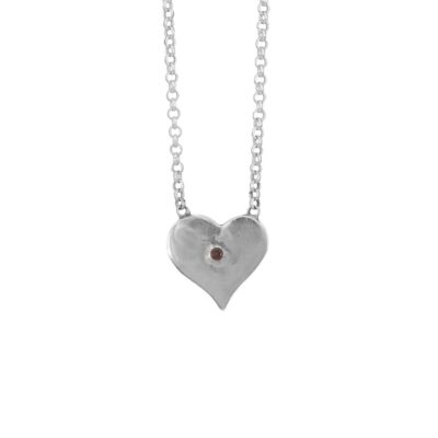 Garnet Polished Heart Pendant, Irish jewellery ethically handcrafted in sterling silver by Caraliza Designs