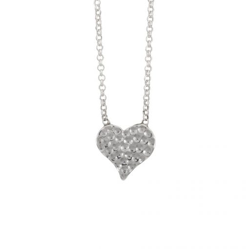 Hammered Heart Pendant, Irish jewellery ethically handcrafted in sterling silver by Caraliza Designs