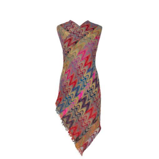 Disco Chevrons Merino Wool Shawl Eco Sustainable Fashion by Caraliza Designs