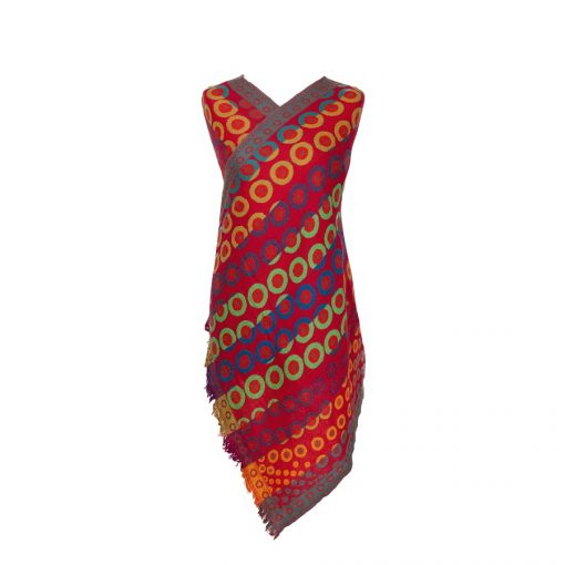 Fiery Kandinsky Merino Wool Shawl Eco Sustainable Fashion by Caraliza Designs