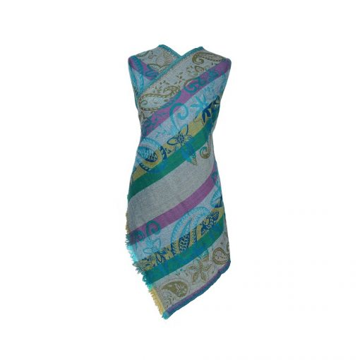 Turquoise Paisley Merino Wool Shawl Eco Sustainable Fashion by Caraliza Designs