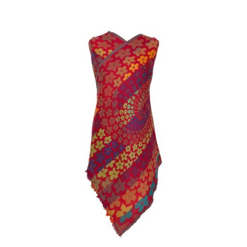 Fiery Daisies Merino Wool Shawl Eco Sustainable Fashion by Caraliza Designs