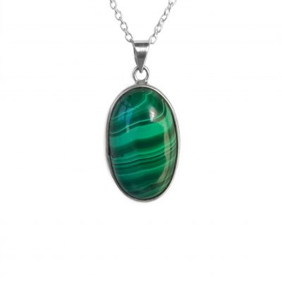 Malachite Pendant, ethical jewellery handcrafted in sterling silver by Caraliza Designs