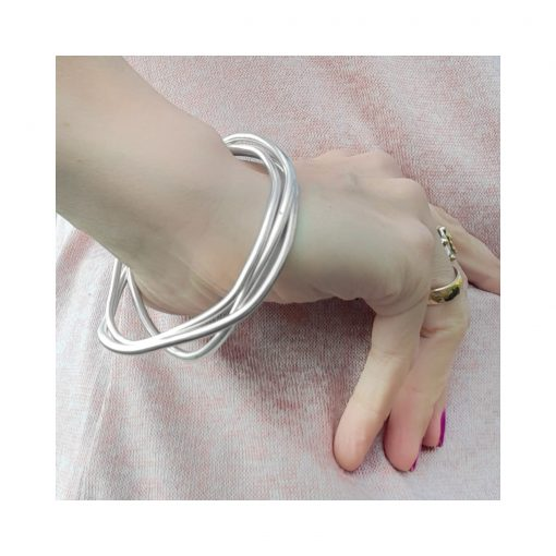 Sterling silver bangles modelled, Irish designed jewellery, ethically handcrafted by Caraliza Designs