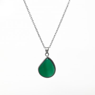 Onyx Droplet pendant, ethical jewellery handcrafted in sterling silver by Caraliza Designs