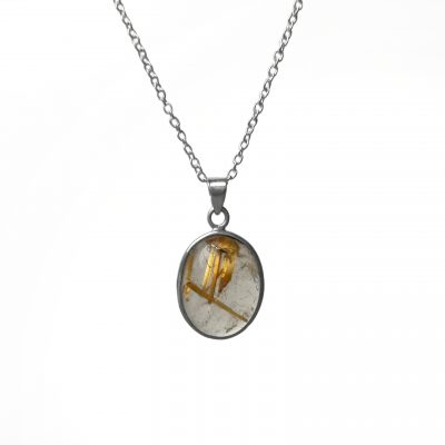 Golden Rhutile Pendant, Irish designed jewellery ethically handcrafted in sterling silver by Caraliza Designs