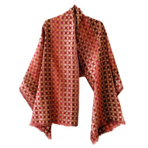 Rustic Polka Dot Merino Wool Shawl by Caraliza Designs