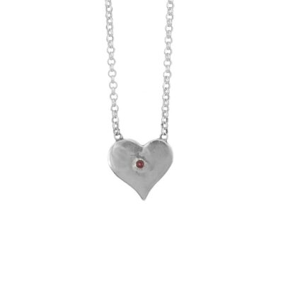 Ruby Polished Heart Pendant ethical jewellery handcrafted by Caraliza Designs