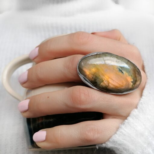 Rock of the Earth Labradorite statement ring, Irish jewellery ethically handcrafted by Caraliza Designs