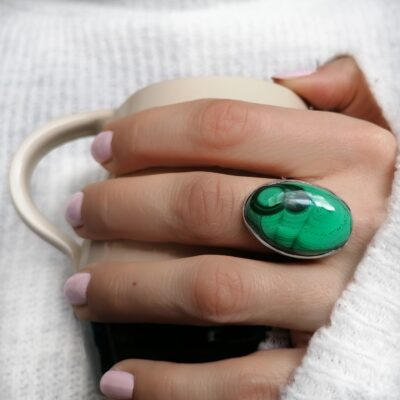 Rock of the Earth Malachite statement ring, Irish jewellery ethically handcrafted by Caraliza Designs
