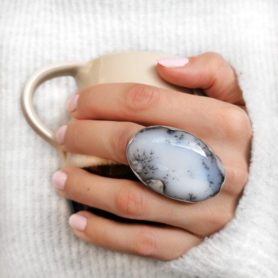 Dendrite Agate statement ring, Irish jewellery ethically handcrafted in sterling silver by Caraliza Designs