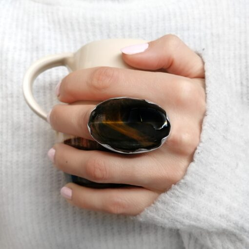 Tiger Eye ring, Irish jewellery ethically handcrafted in sterling silver by Caraliza Designs