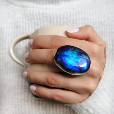 Labradorite ring, Irish jewellery ethically handcrafted in sterling silver by Caraliza Designs