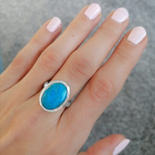 Bella Ring in Turquoise, Irish jewellery ethically handcrafted in sterling silver by Caraliza Designs